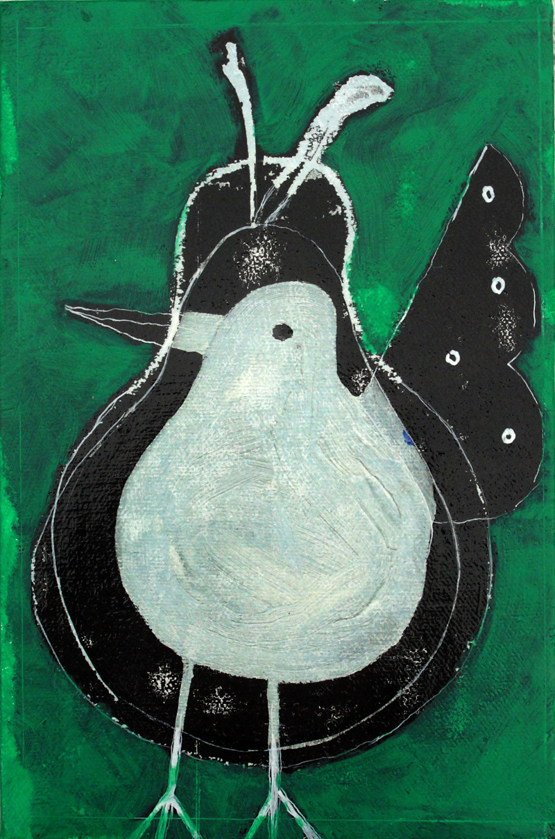 Bird and Pear  (2012), 9 x 6 in, transfer, oil, wax on canvas