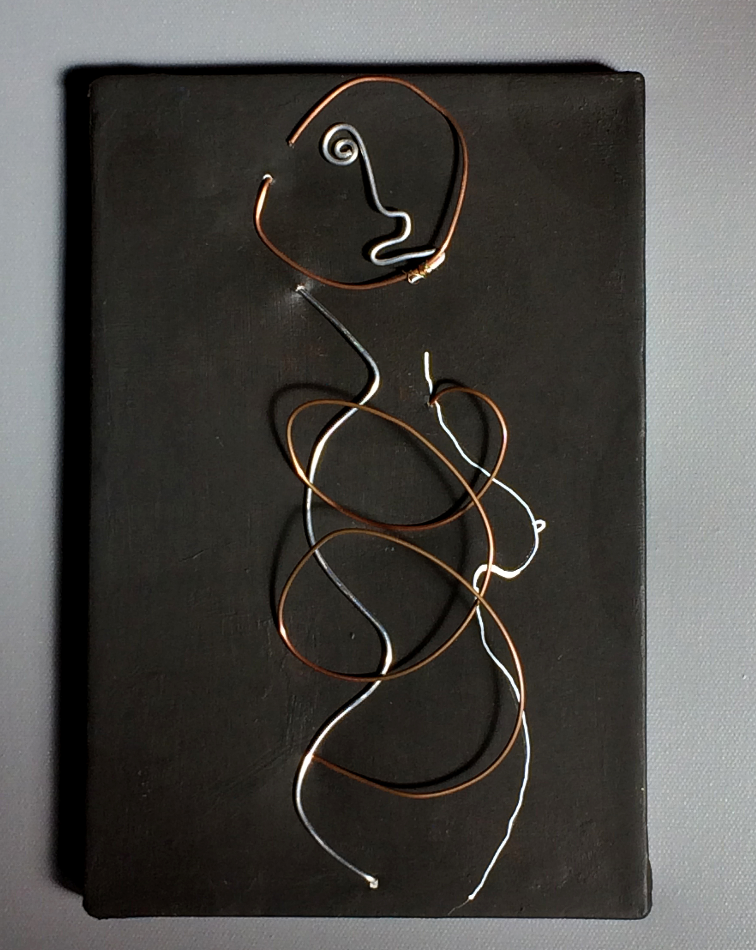 Wire Woman  (2013), 12 x 12 in, white acrylic ink, copper wire on canvas