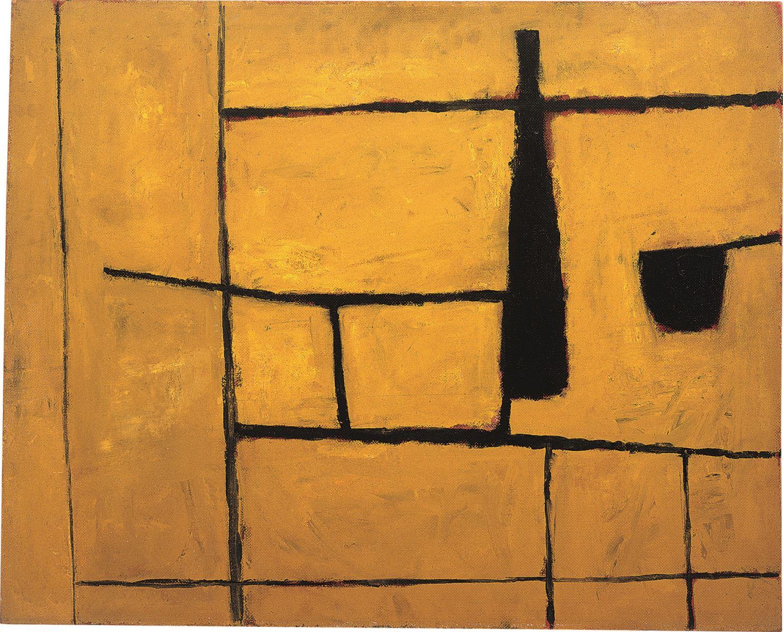William Scott, 1954  Black Bottle and Yellow