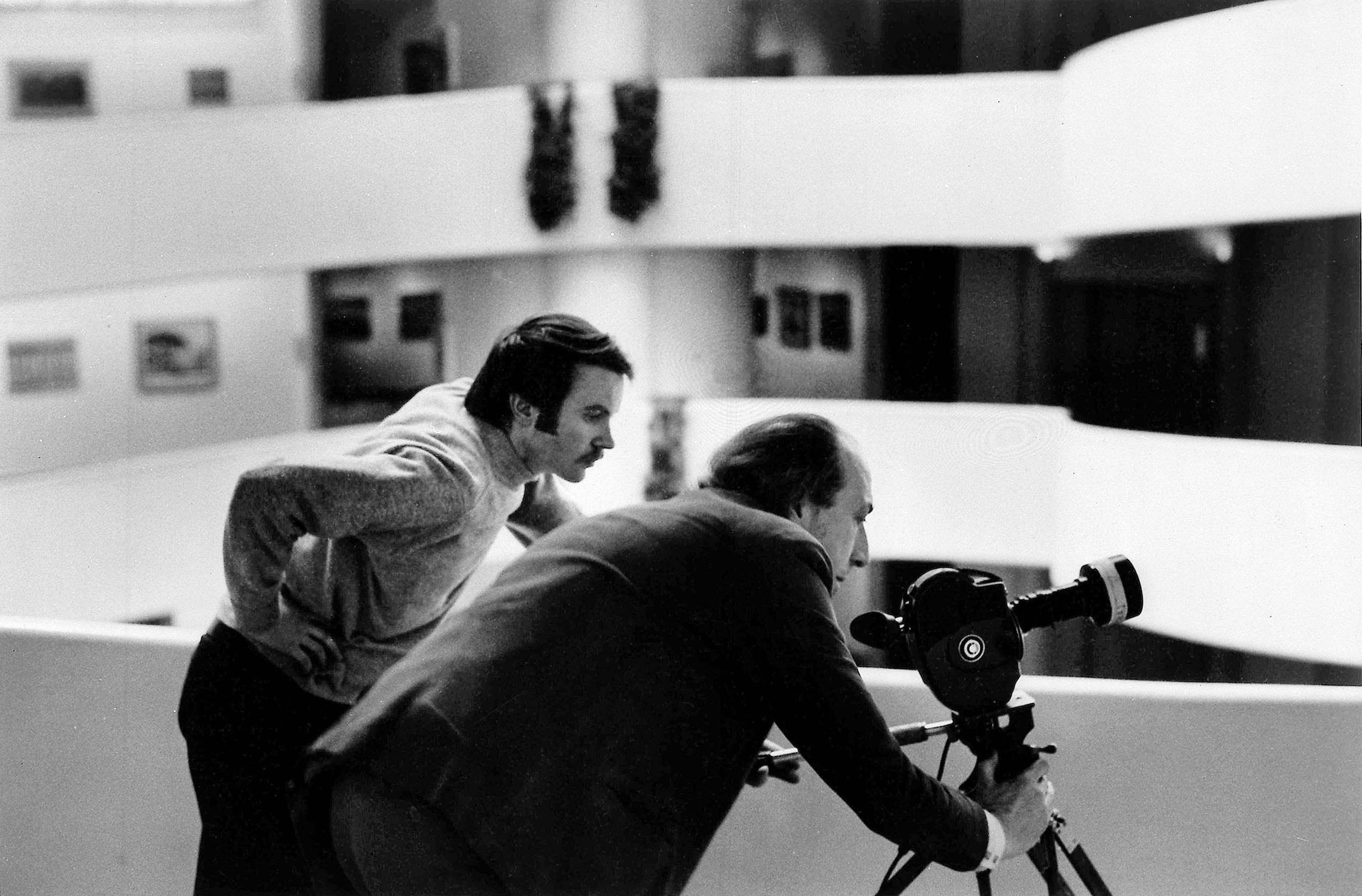 James Scott and Richard Hamilton filming at the Guggenheim Museum