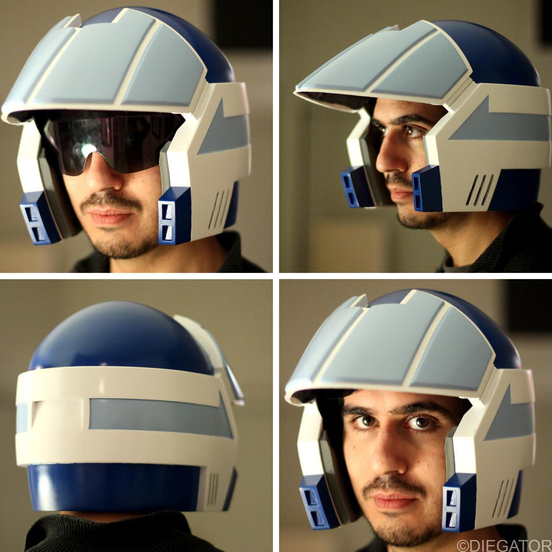The helmet features a flip down visor