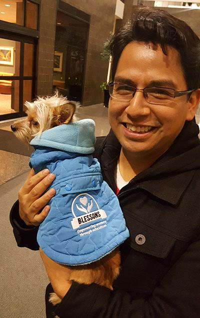 Jose Pineda & Hamsa sporting her new Blessons jacket