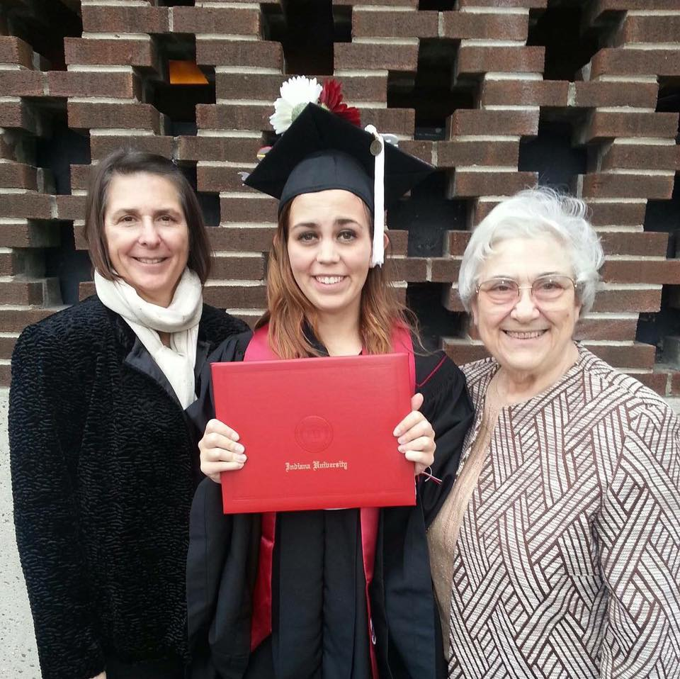 """I graduated from Indiana University five years ago. This picture is three generations of IU graduates. My grandma came from difficult circumstances, but always made education her priority. She knew something that I have learned only through teaching - when you come from poverty, education is one of your only ways out. I am honored to be following in her footsteps. She also had a masters degree in education and taught elementary school for many years - something she loved and talked about her entire life.""- Jenny Mailander"
