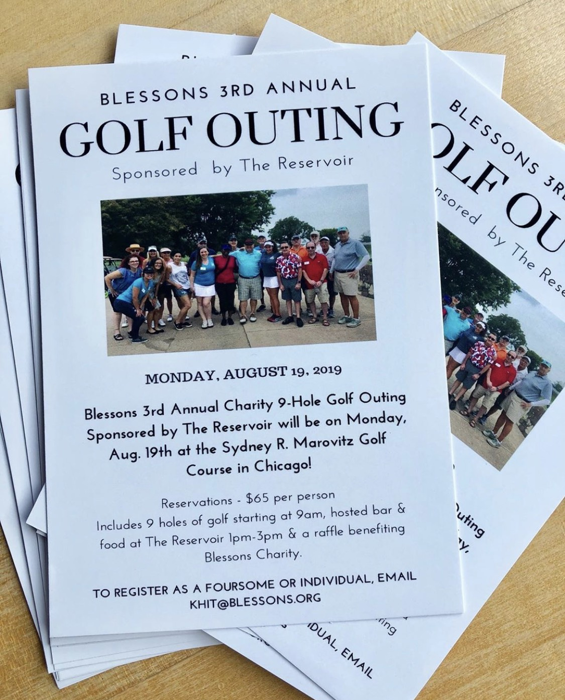 3rd Blessons Annual Reservoir Charity Golf Outing  Monday, Aug. 19th, 2019
