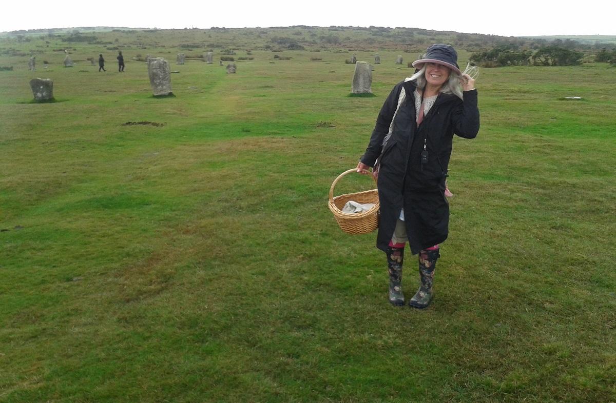 Sue at Hurlers Stone Circle, Bodmin Moor, Cornwall