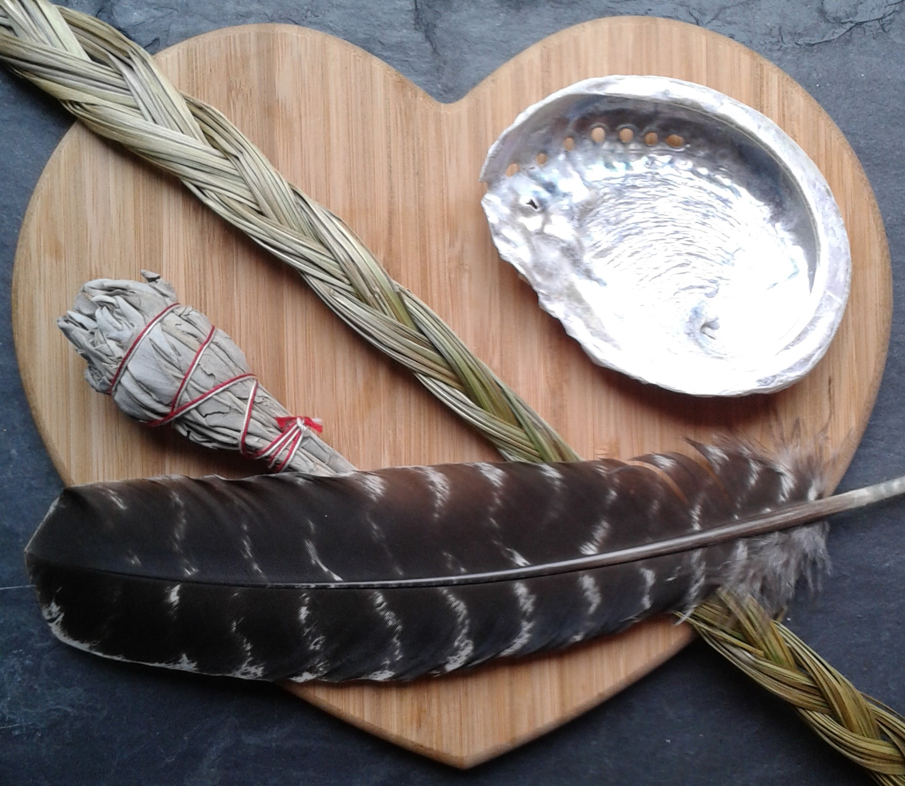 Blog 2-2019 Feb-shell bundle sweetgrass feather.jpg