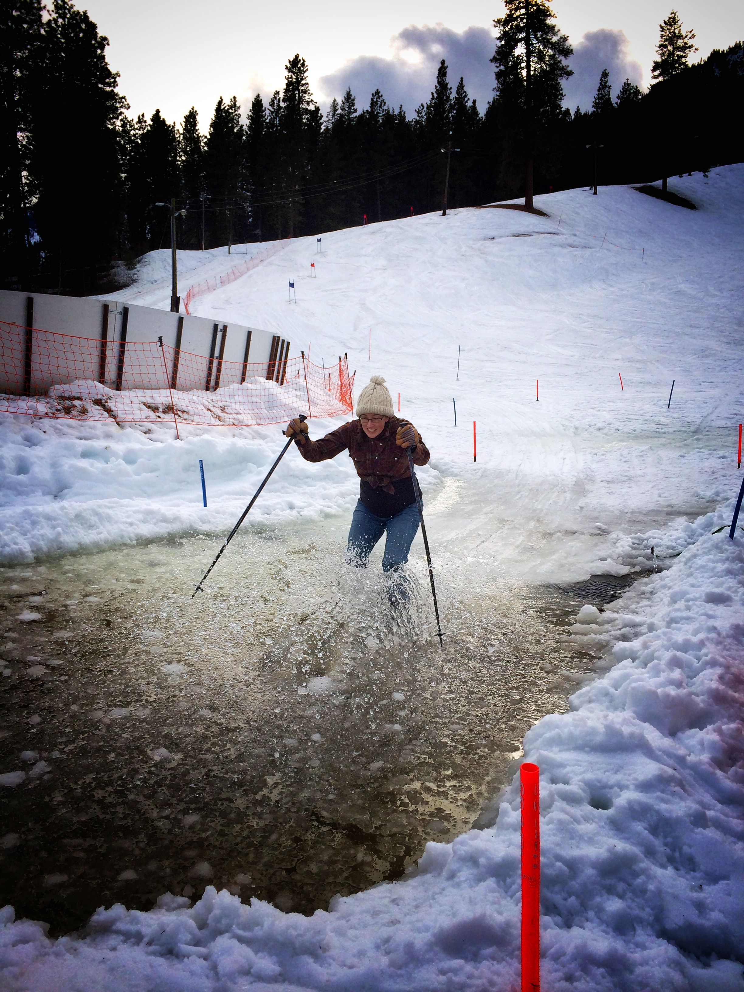 This is Jodie, 8 months pregnant, on tele skis, no biggie.