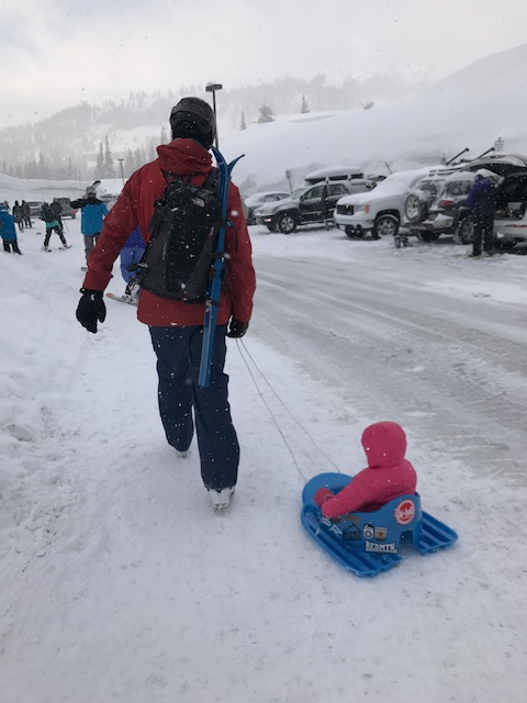 $20 gas station sled = priceless on a road trip with a little one.