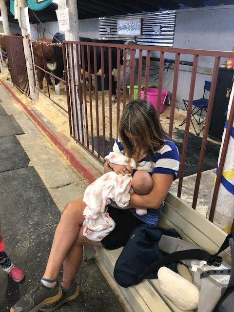 We went to the county fair. So, naturally, we had to take a nursing pit stop in the dairy barn.