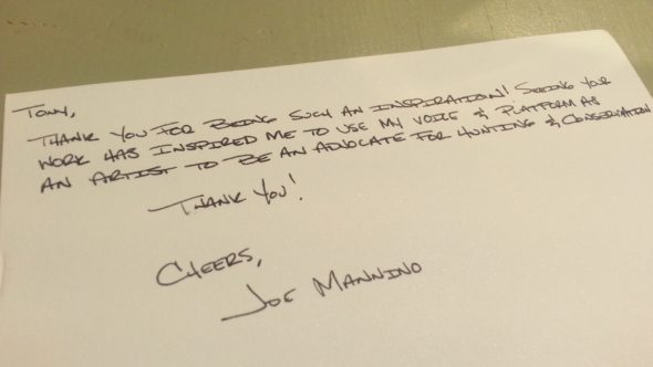 Joe's thank handwritten thank you note.
