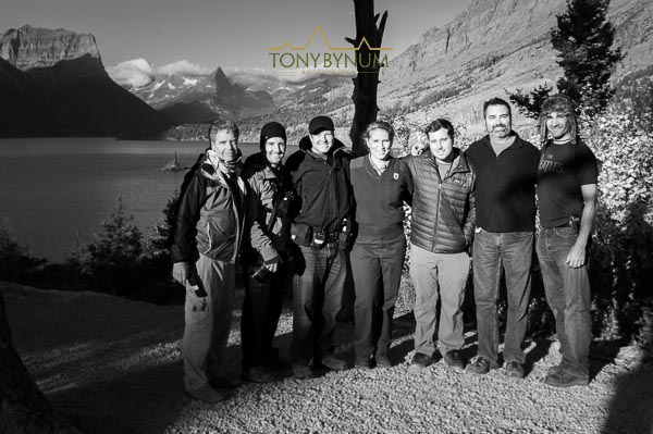 """National Parks Adventure"" movie crew above Saint Mary Lake, Glacier National Park, Montana."