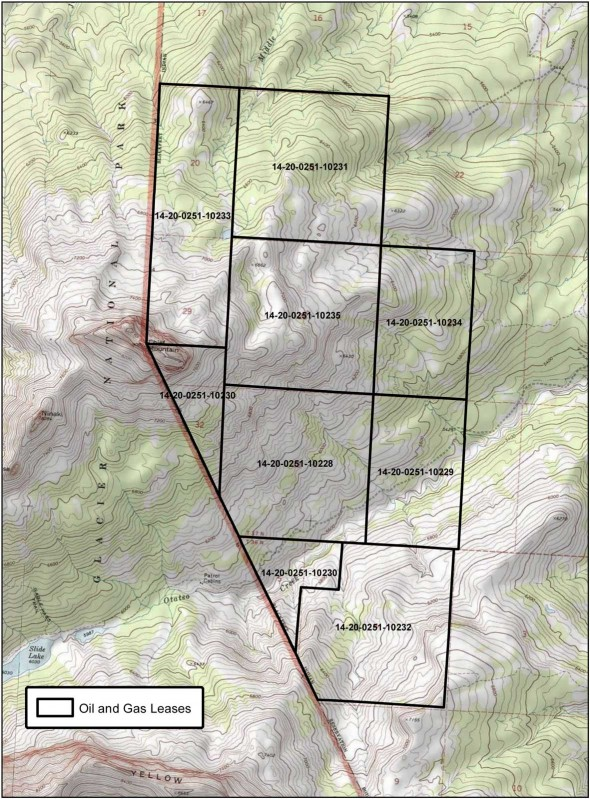 Area in black is leased for oil drilling around chief mountain. The area to the left, or the west, it Glacier National Park