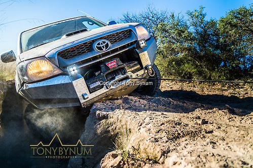 Hilux Toyota pickup with warn winch early morning sunrise in La Pampa Argentina. ©tonybynum.com