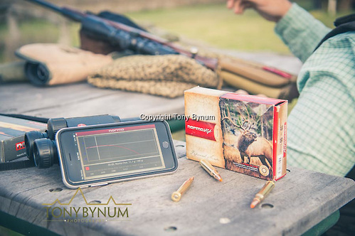 Norma ammunition and the Norma app used for sighting in a rifle. La Pampa, Argentina ©tonybynum.com