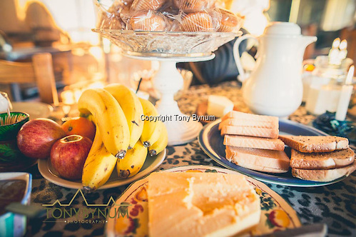 Typical breakfast and snack fare. This kind of food is always on the table for hunting guests. La Pampa, Argentina ©tonybynum.com