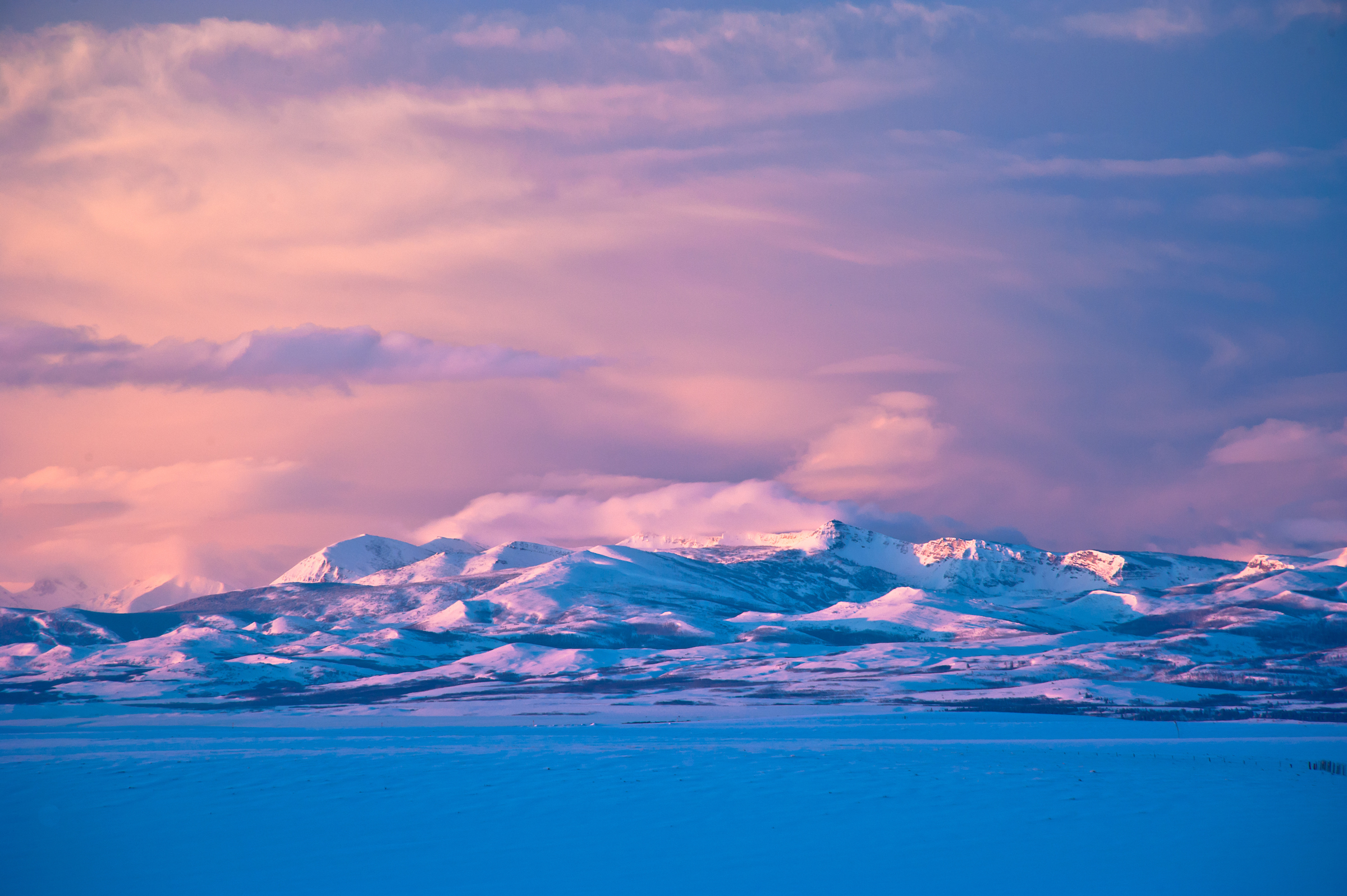 Winter sunrise along the Rocky Mountain Front, Montana. The Badger Two Medicine Area.