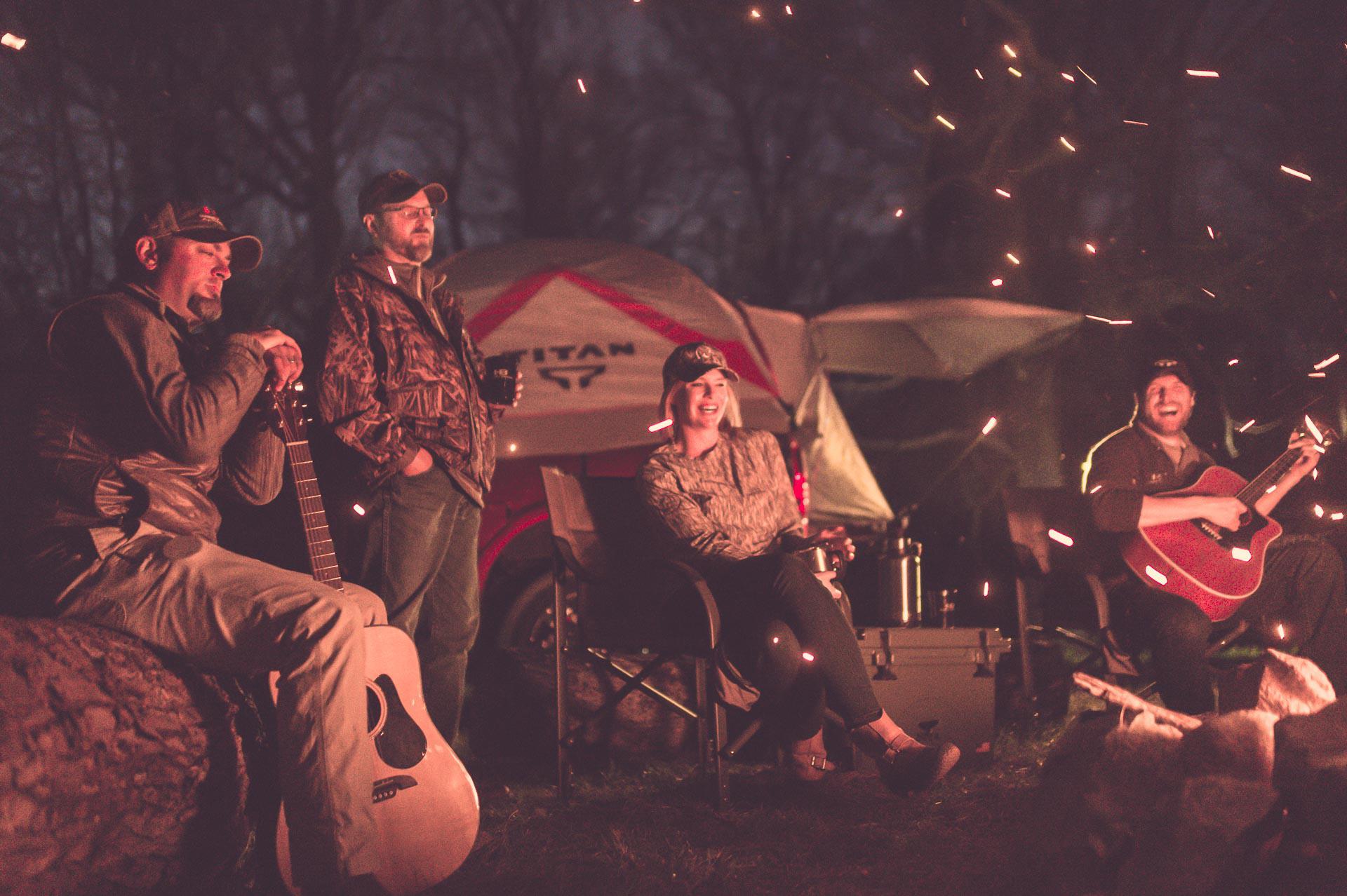 Party around a campfire at Honey Brake. © Tony Bynum
