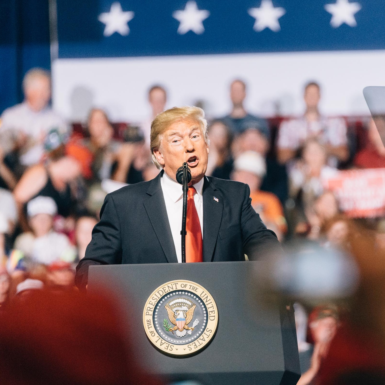 President Donald Trump speaking to an audience in the Pacific Recycling Arena in Great Falls, Montana. ©Tony Bynum