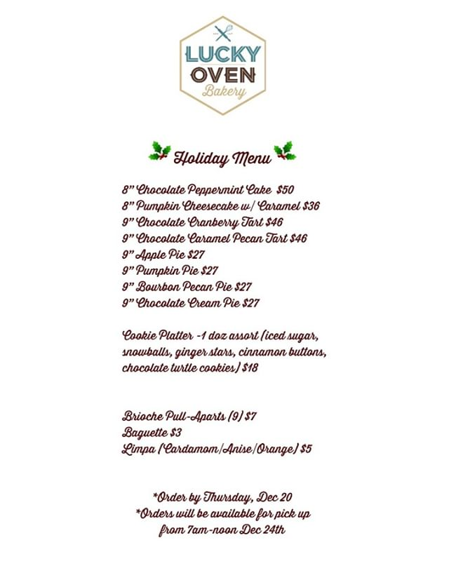 Check out our Holiday Menu to get your goodies! Place your orders by Dec. 20th and pick them up Dec. 24th between 7-12. Call us at 612.353.6232 to get your order in!