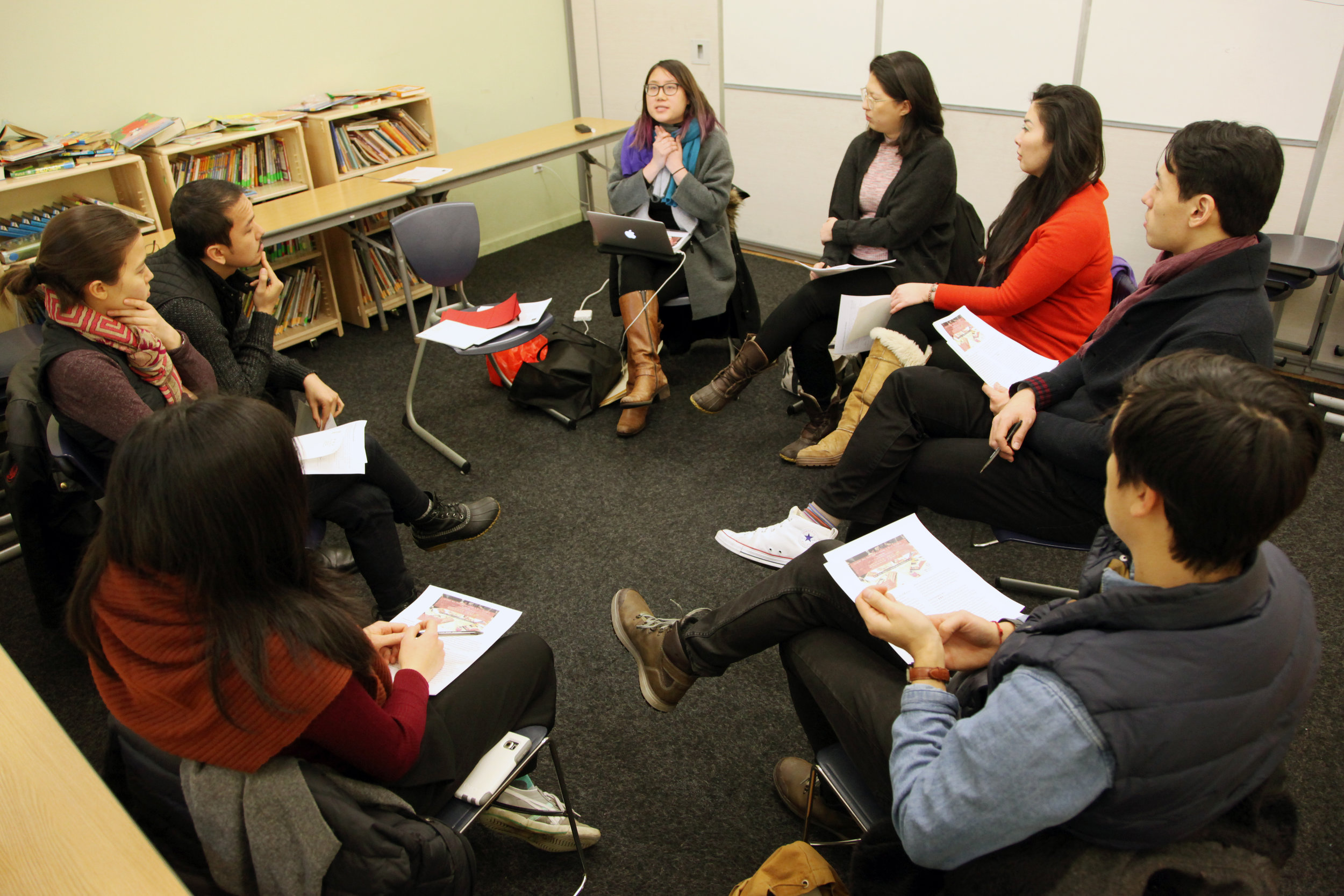 Melissa leads an introductory oral history workshop at Florentine Yamaha School on 219 Park Row.