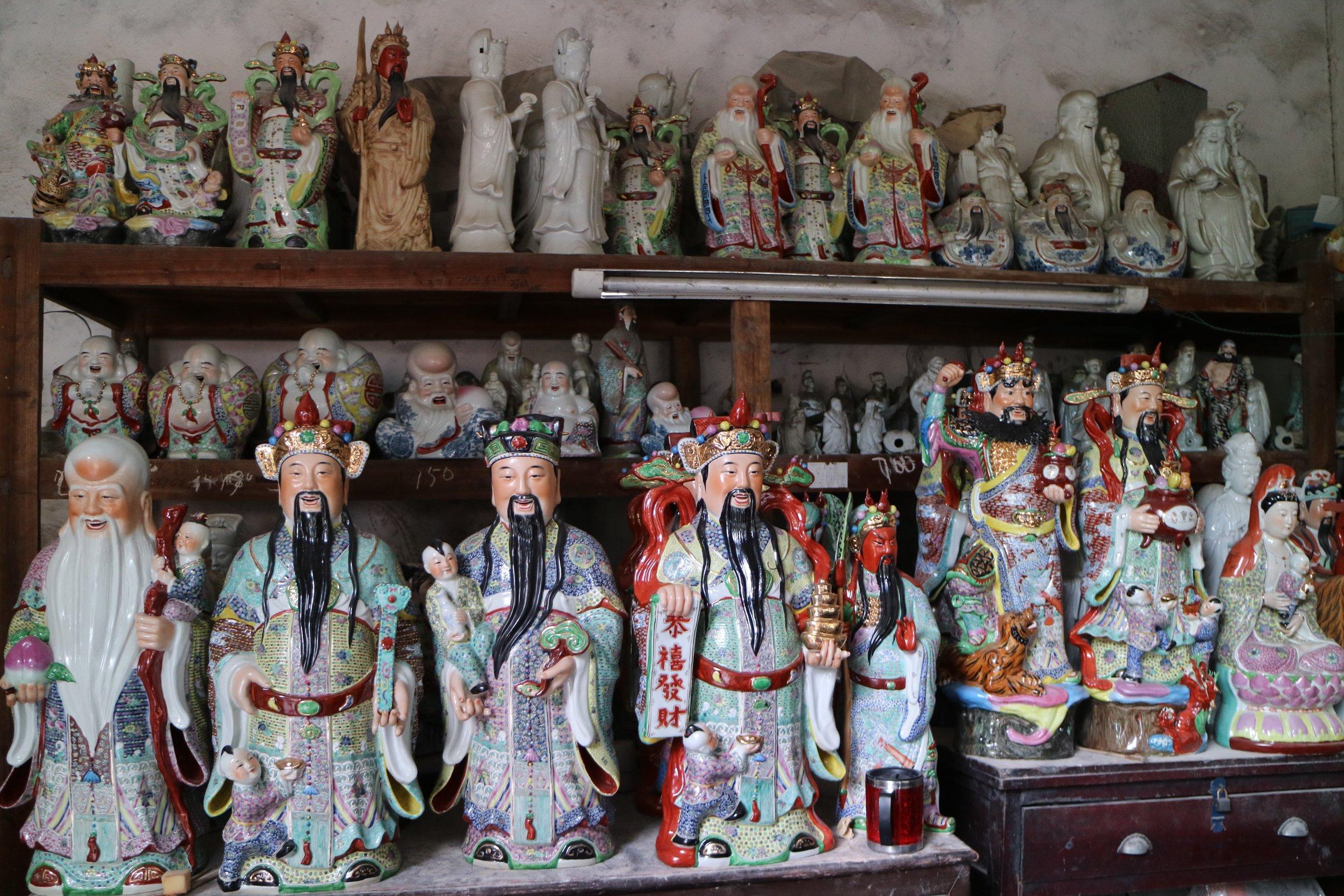 statue factory scene