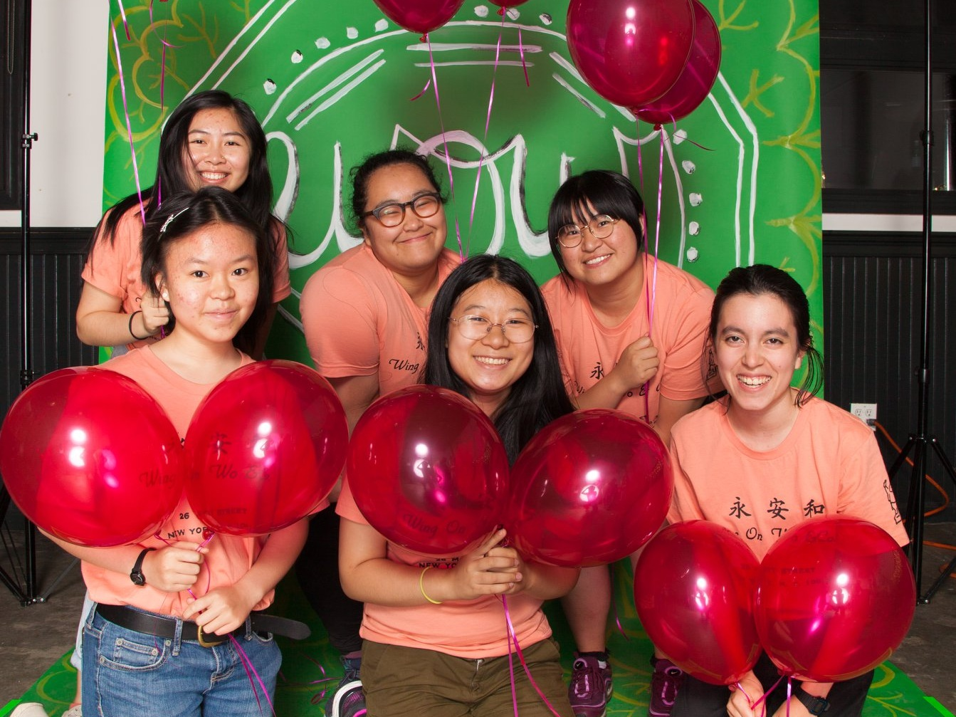 W.O.W. Interns at the 3 Year Anniversary Celebration!  (back row, from left to right: Fanny Li, Yuki Haraguchi, Em He; front row, from left to right: Emma Tse, Alicia Kwok, Jade Levine)