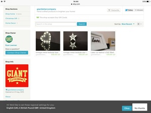 You can find us on Etsy by searching for 'giantlettercompany'