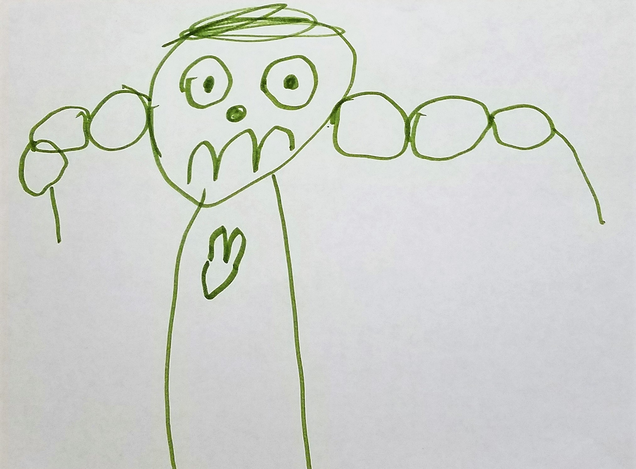 Picture compliments of my 4-year-old grandson, Barrett. It's his picture of God being our hero. : )