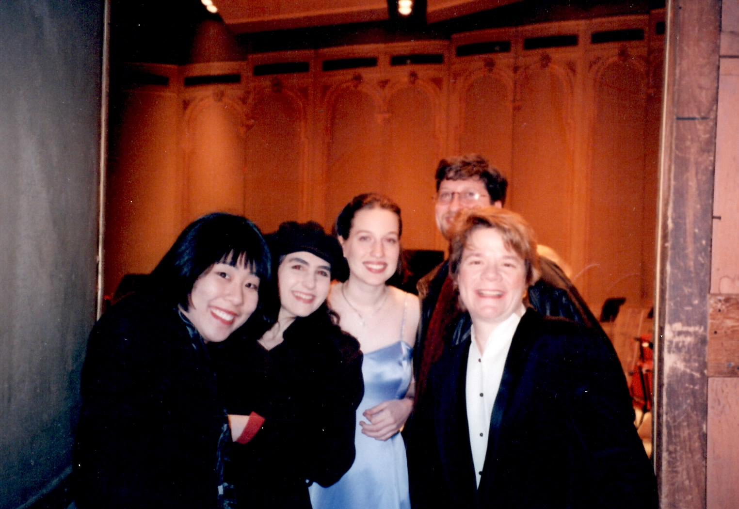 Marin Alsop and friends backstage after my Barber Concerto premiere (1998) in Philadelphia at the Academy of Music. From left to right Amy, Stephanie, myself, Phil and Marin Alsop.