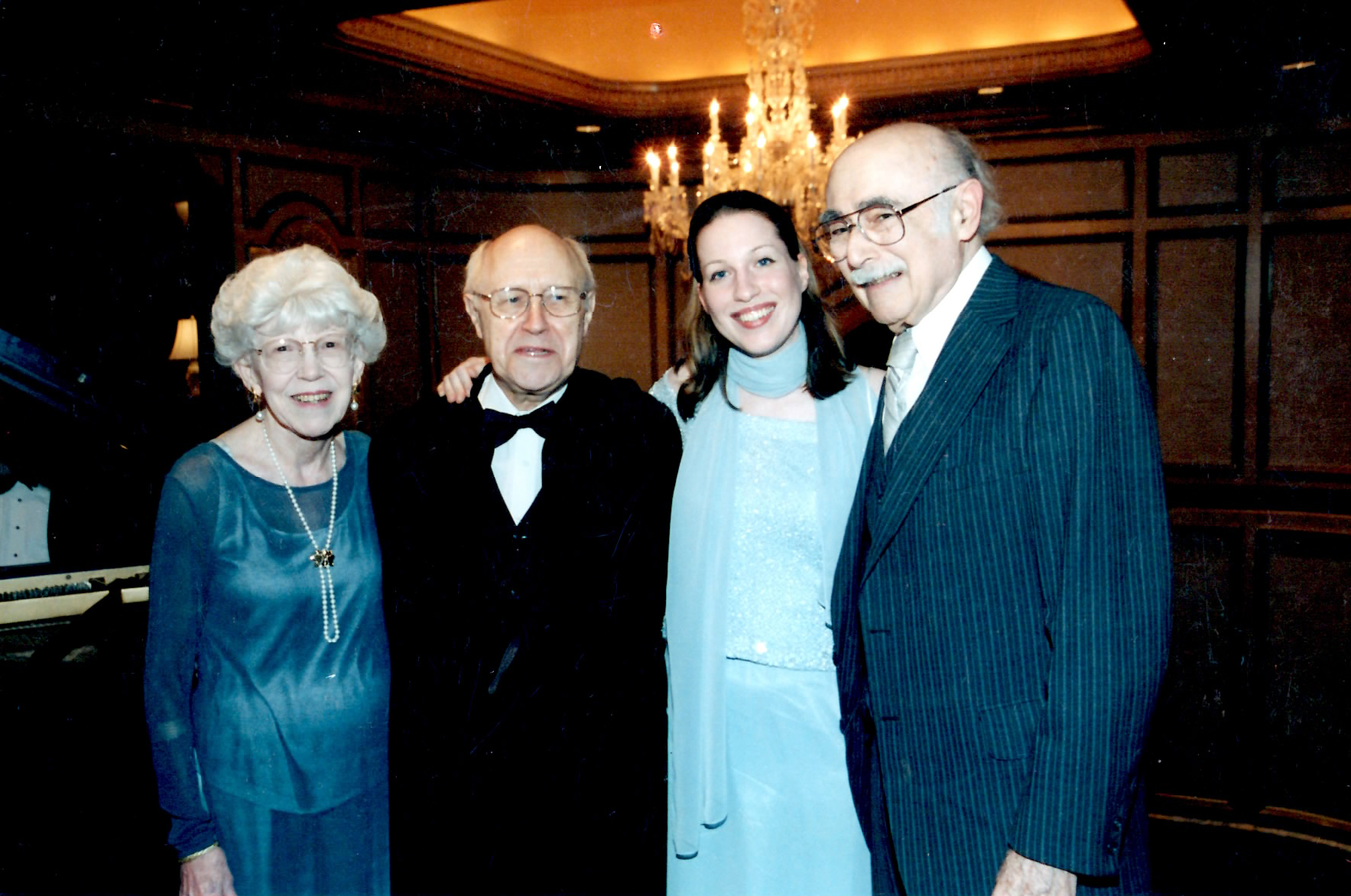 All of my teachers in one photo. From left to right: Nell Novak, Mstislav Rostropovich, myself, and Kalman Novak
