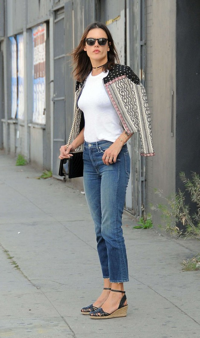 "Alessandra Ambrosio in the ""Booker"" studded jacket 