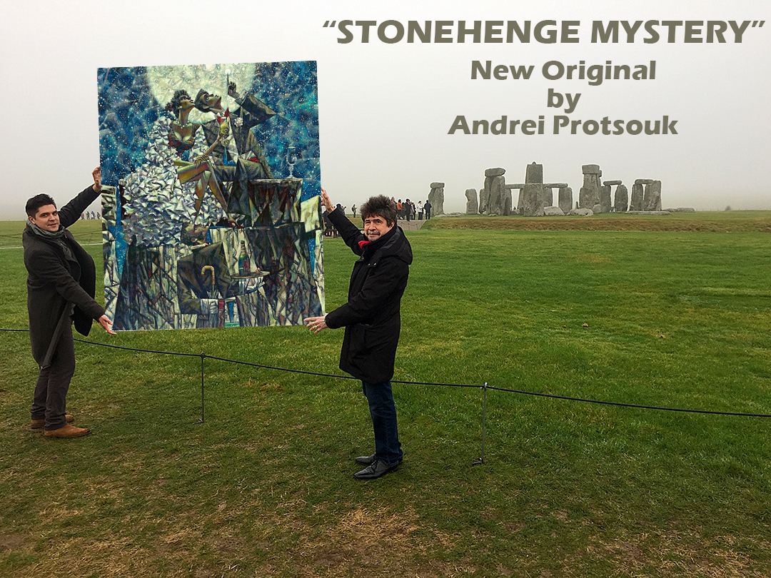"Andrei Protsouk (Right) Dennis Protsouk (Left) at the Stonehenge  holding Andrei's New Original ""Stonehenge Mystery"""