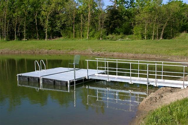 2 Hotwoods 816 docks combined to make 16' x 16' aluminum dock with 16' walkway. Grand Island, Nebraska.