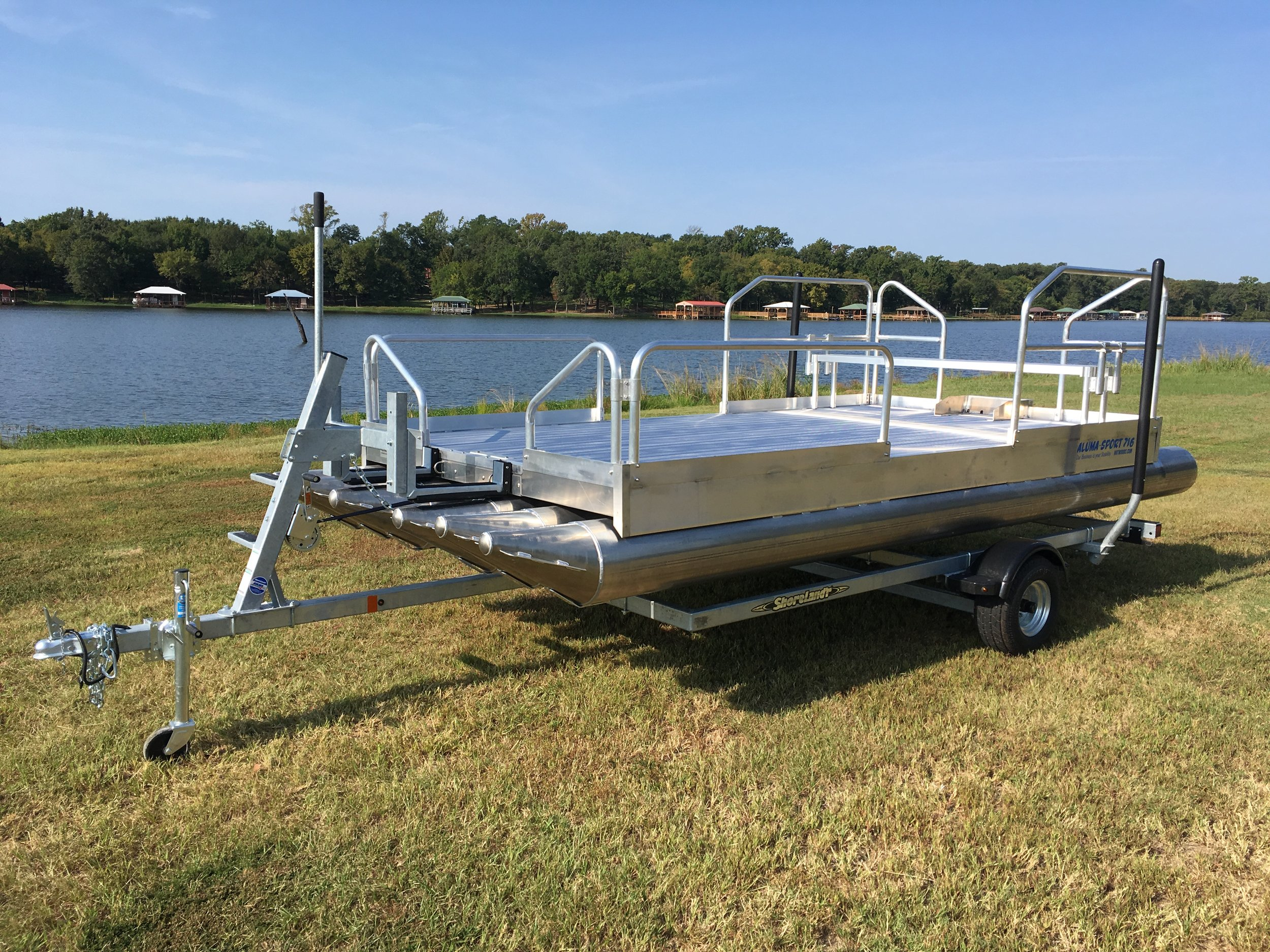 716 Aluma Sport shown with galvanized Shoreland'r trailer designed specifically for this boat. You will not be disappointed with this craft or trailer set up in any way.