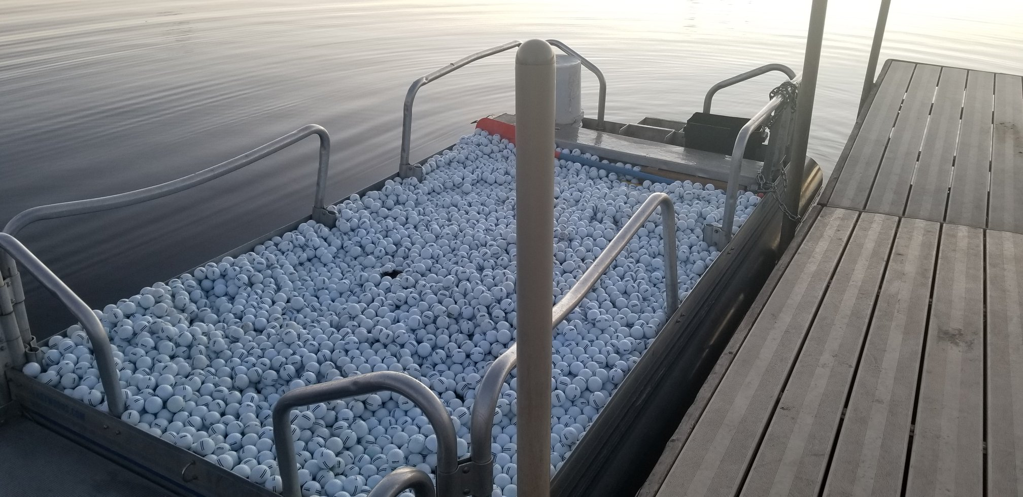 Another photo from the Aqua Golf Company and one of our Fish N Sport model pontoon boats that has been used as a service unit to collect balls from golf course lakes in Colorado.