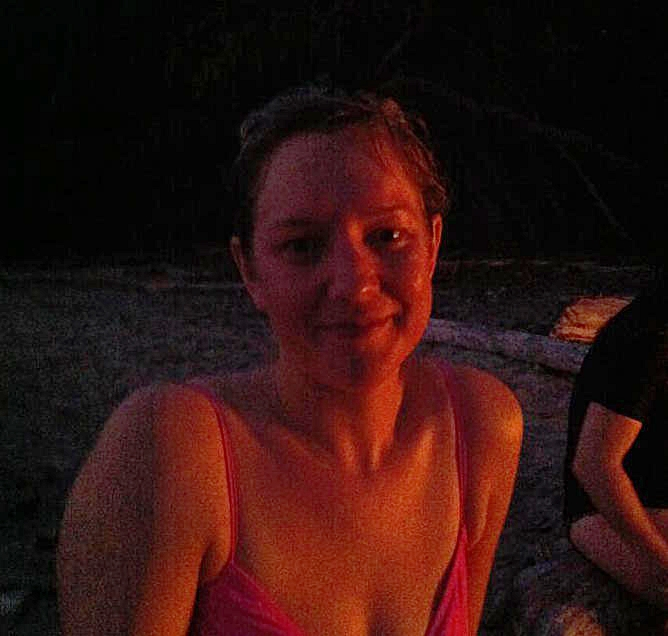 Yes you are right, this photo is blurry -- it was taken at night, at a campfire. You can totally see my happiness.