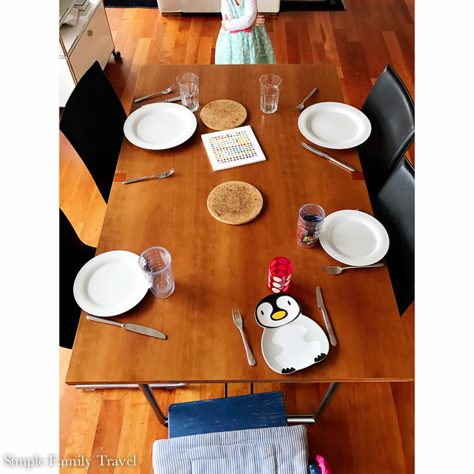 2 years old and already setting the table, who needs a perfectly set table after all.