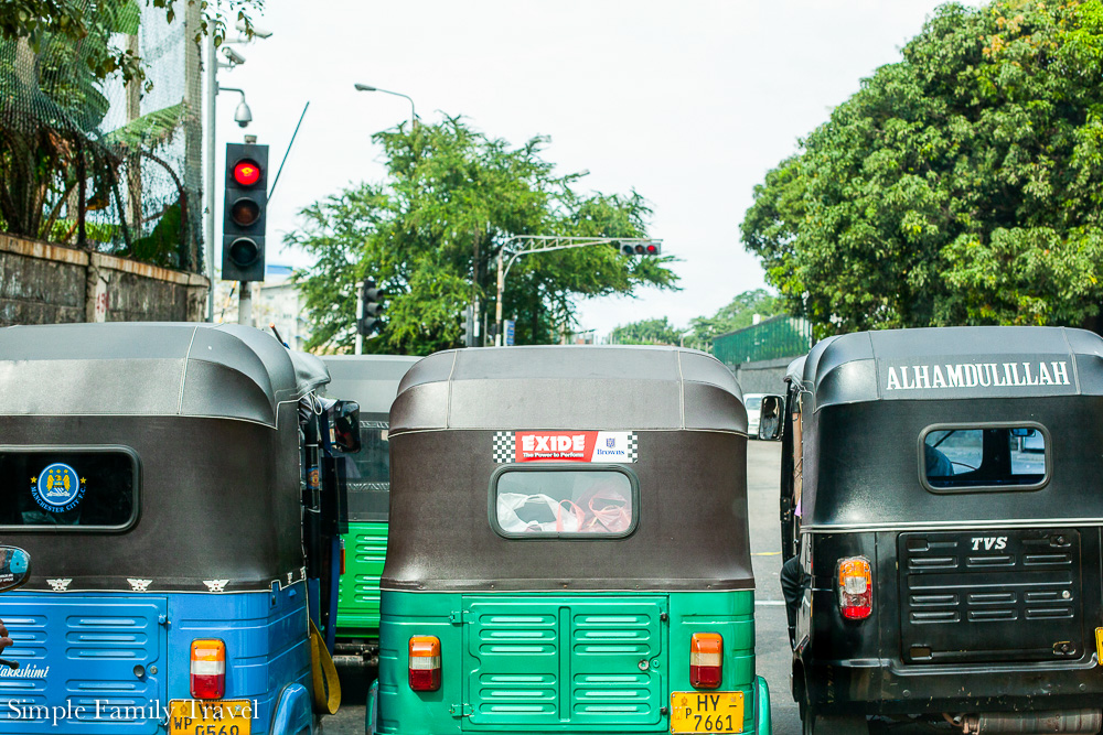 Behind some Tuk Tuks at the traffic lights on our trip to Sri Lanka