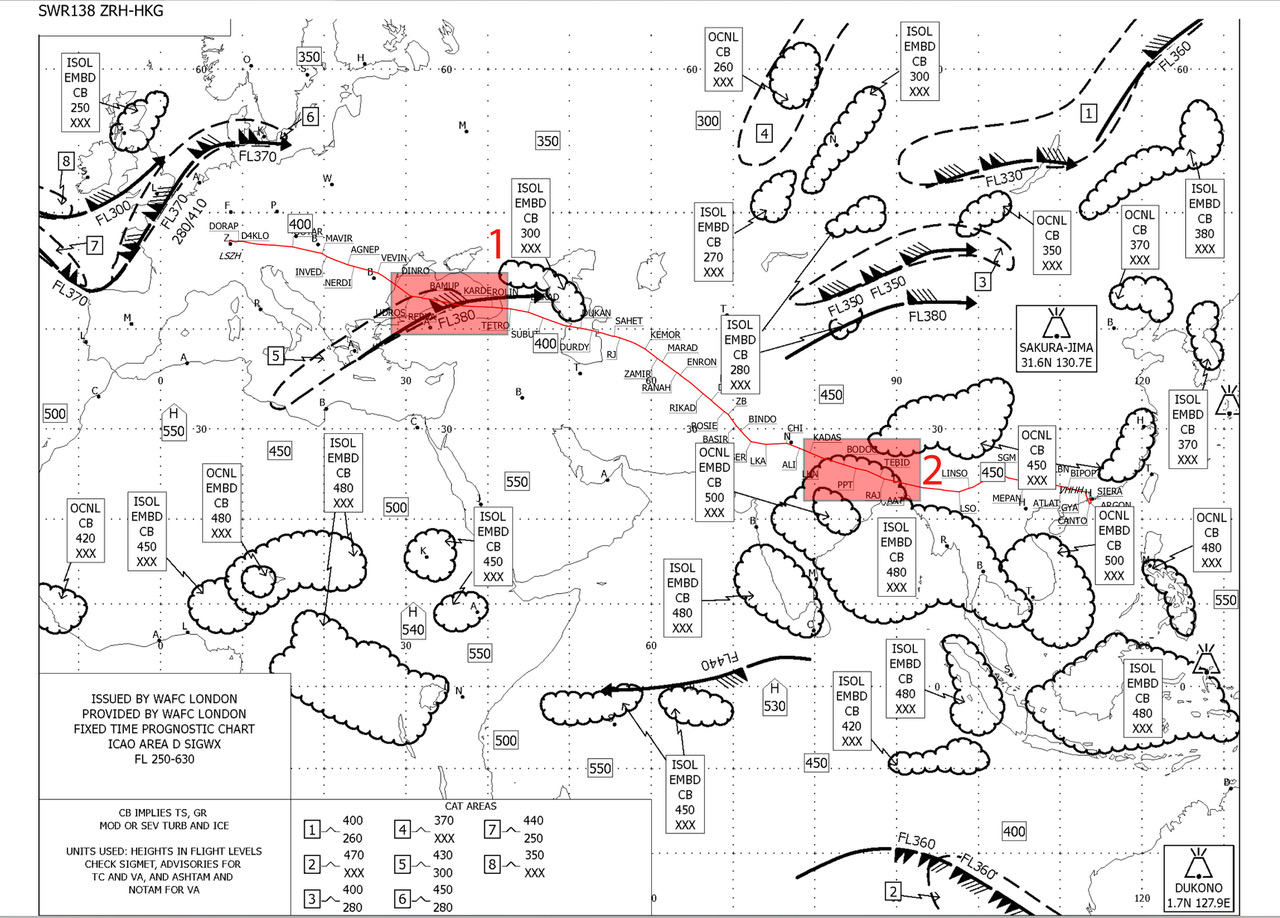 Before each and every flight we get a briefing package containing the flight plan (our route), information about the airport enroute and at our destination as well as a weather briefing. This document is called Significant Weather Chart (SWC) and shows some weather that could affect us during the flight. On this flight from Zurich to Hongkong (red line is our route) we got to cross a jetstream (area 1) that was accompanied with a zone of turbulent air (doted line to the left with the number 5, you can see in the legend that this area is vertically located between 300 and 430, meaning the flight level. Just add two zeros and you will get the altitude in feet.) further on in the journey, somewhere over India we will be flying through a zone of isolated embedded cumulunimbus (meaning convective clouds that are immersed within other clouds). This is a prediction based on forecasts, of course this usually shifts slightly during a period of this 12 hours flight but gives is a good idea of whats ahead.