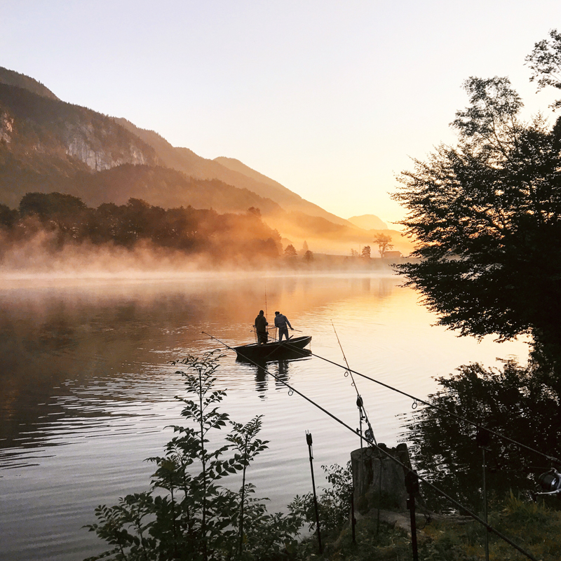 Sunrise over the Reintalersee on our last morning.