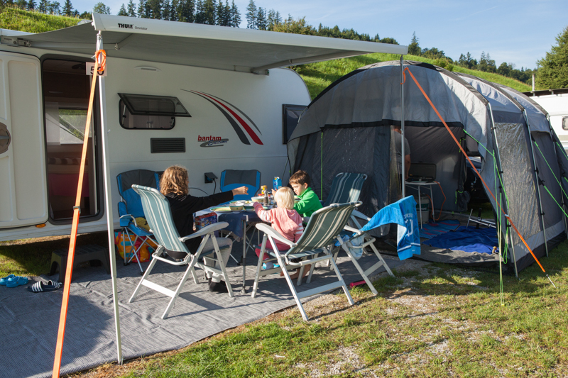 Our home for the 7 nights. We were able to fit our van across the pitch so we could use our Outwell Awning.