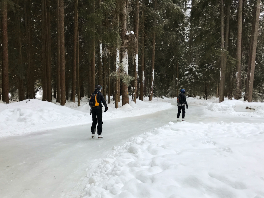 Ice Skating through the forest is a great alternative to skiing in Switzerland.