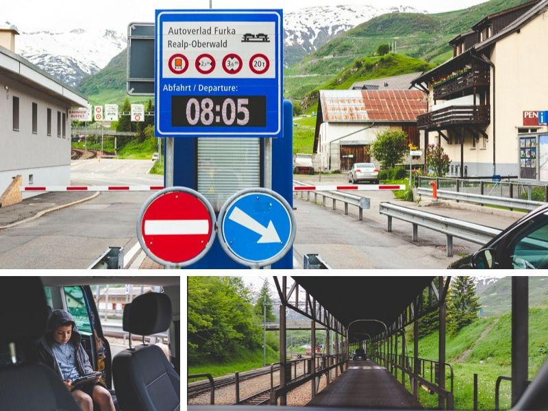 The Furka Car Train takes you from Uri to Wallis.