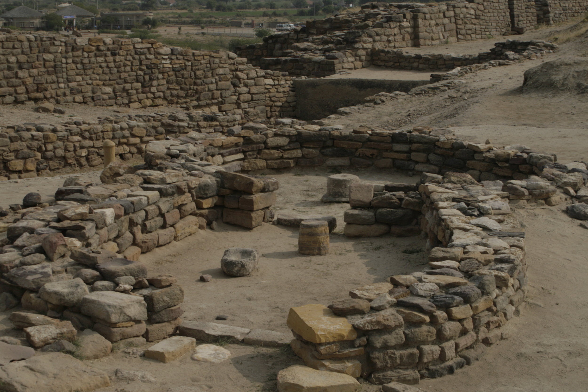 Foundations of a stone roundhouse. Mud roundhouses are still found through Kutch and survive well during earthquakes.
