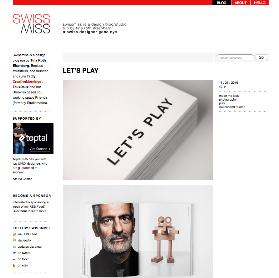 LET'S PLAY GOES NYC  THANK YOU SWISS MISS   http://www.swiss-miss.com/2016/11/lets-play.html