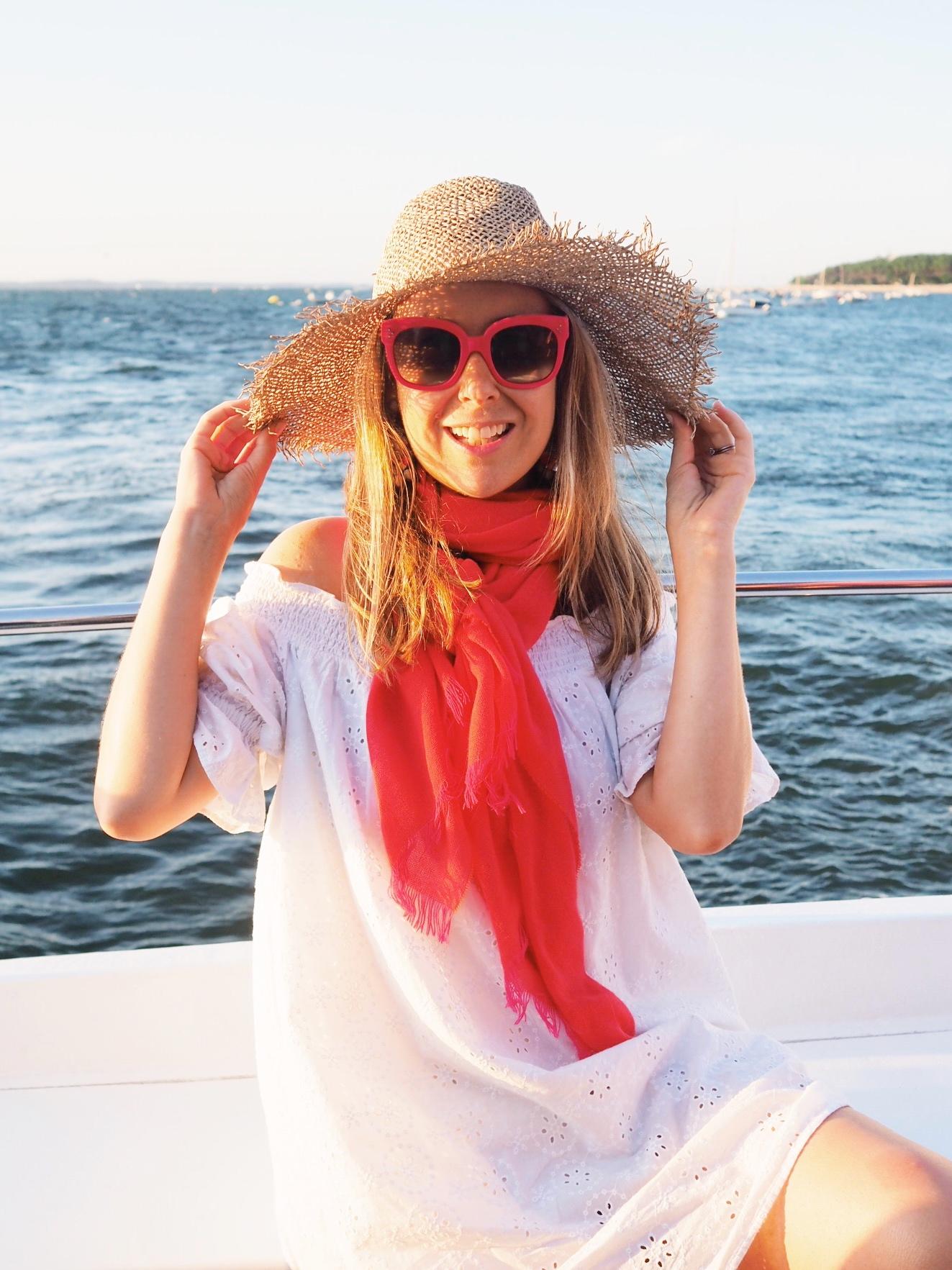 Wearing the Italian Days scarf in  Tangerine