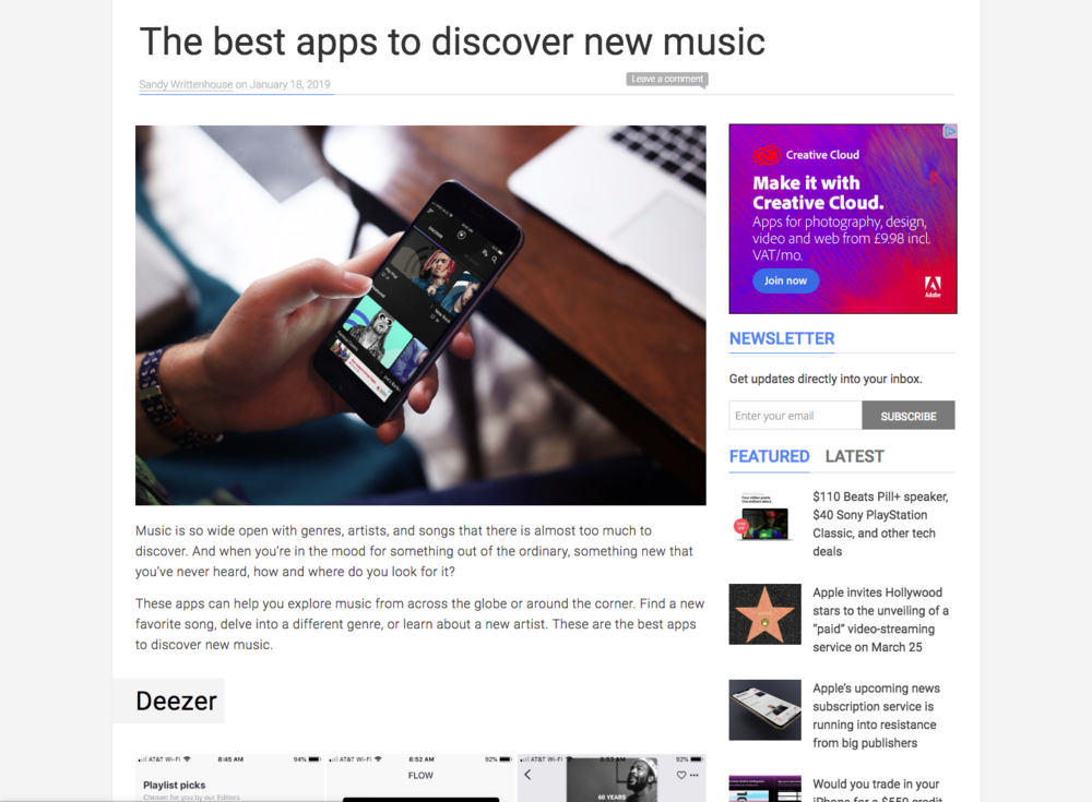 The App continued to be a success for music lovers. ( Article above 18/01/19 )