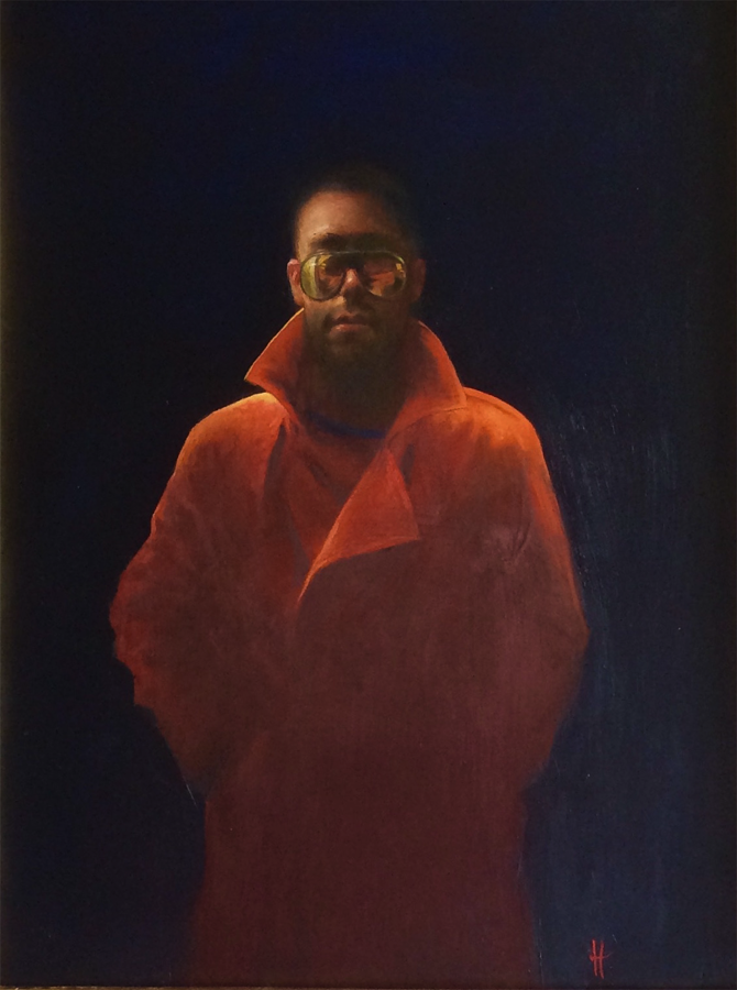Title: Our Man in Orange Size: 44 x 33 cm Medium: Oil on panel SOLD