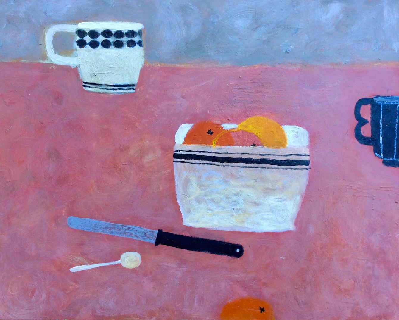 Title: Oranges on Pink Size: 40 x 50 cm Medium: Oil on canvas