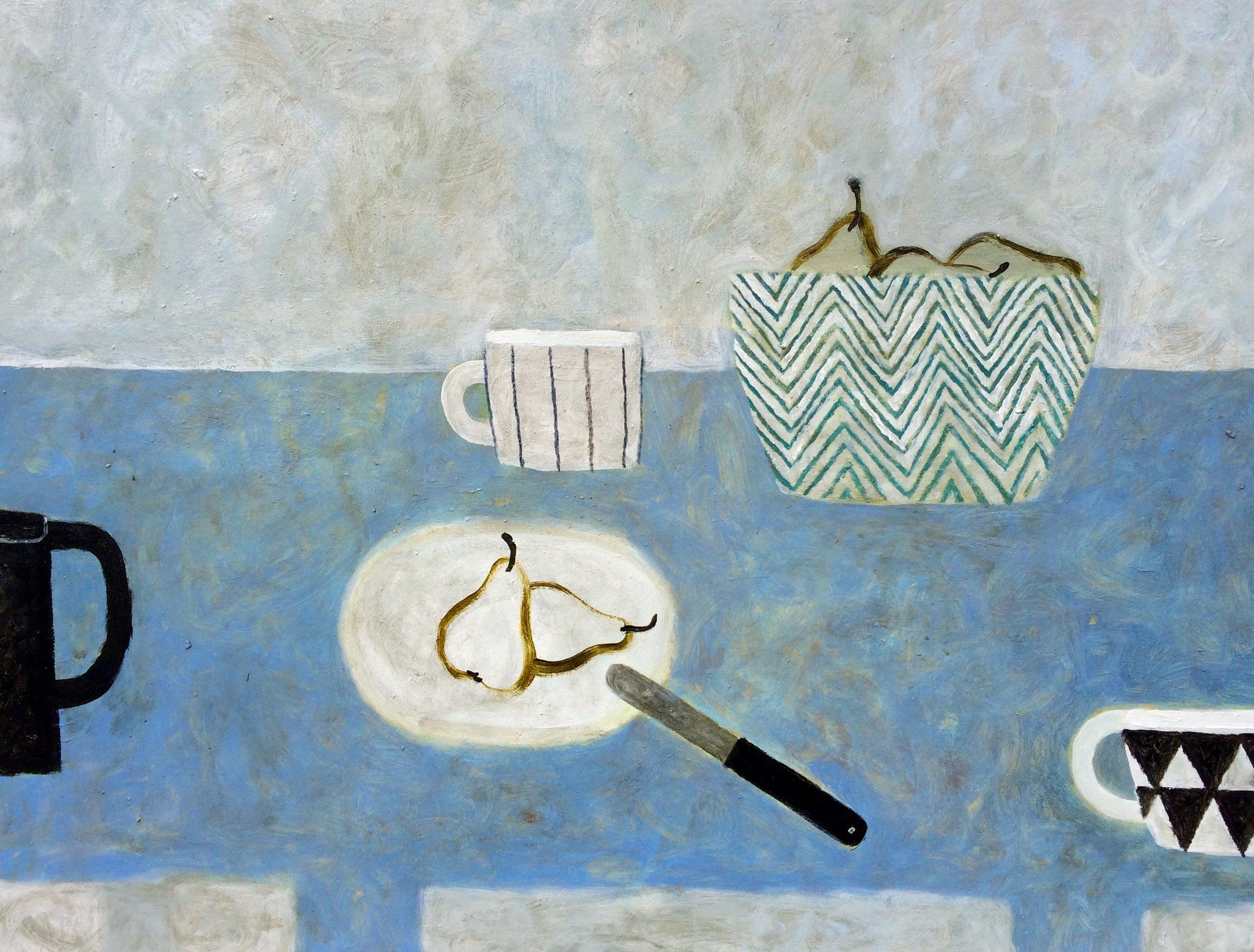 Title: Blue Zigzag Bowl Size: 60 x 80 cm Medium: Oil on Canvas